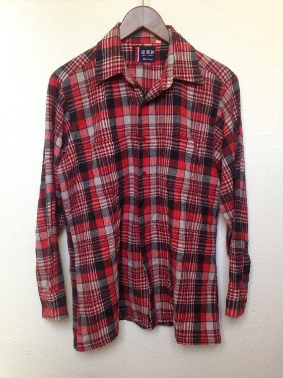 7b532a2e57 1950s red black plaid flannel shirt mens L long sleeve