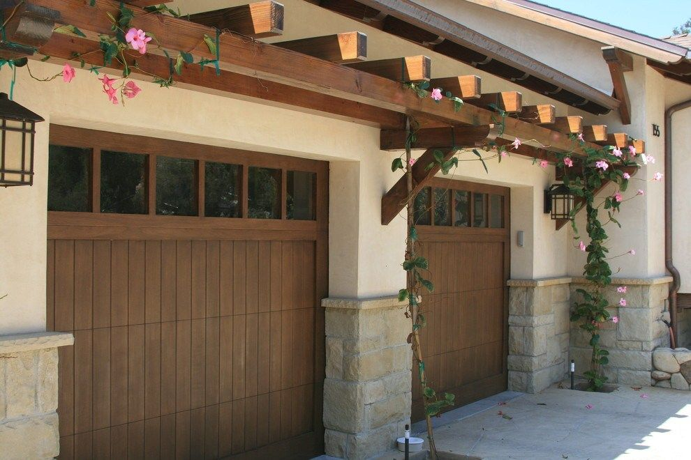 Garage Pergola Shed Traditional With Wood Garage Doors ...