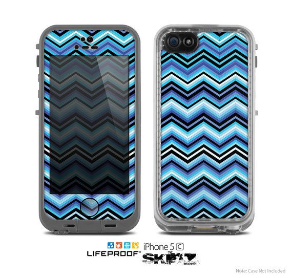 The Thin Striped Blue Layered Chevron Pattern Skin by TheSkinDudes