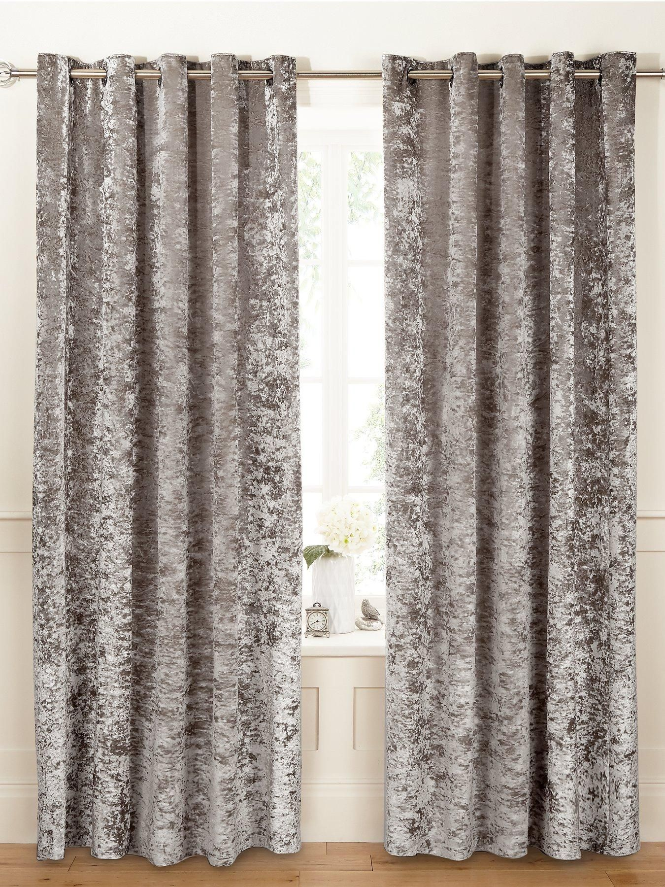 Luxe collection luxury crushed velvet lined eyelet curtains in