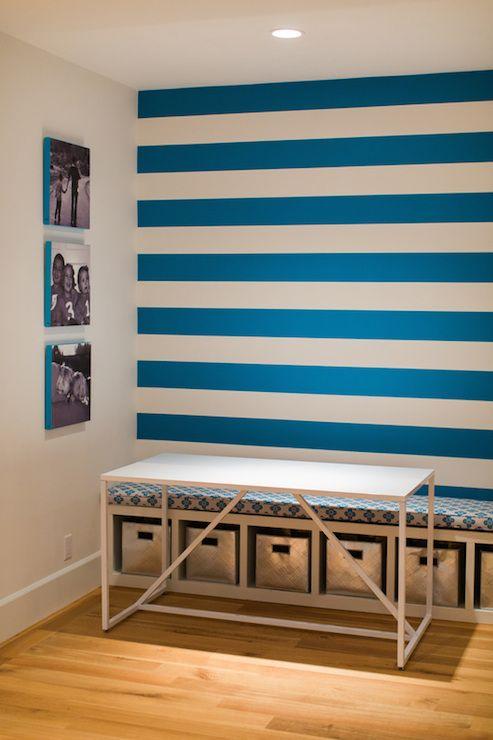Homework Room Contemporary Boy S Room Evars And Anderson Striped Walls Horizontal Interior Boys Room Design