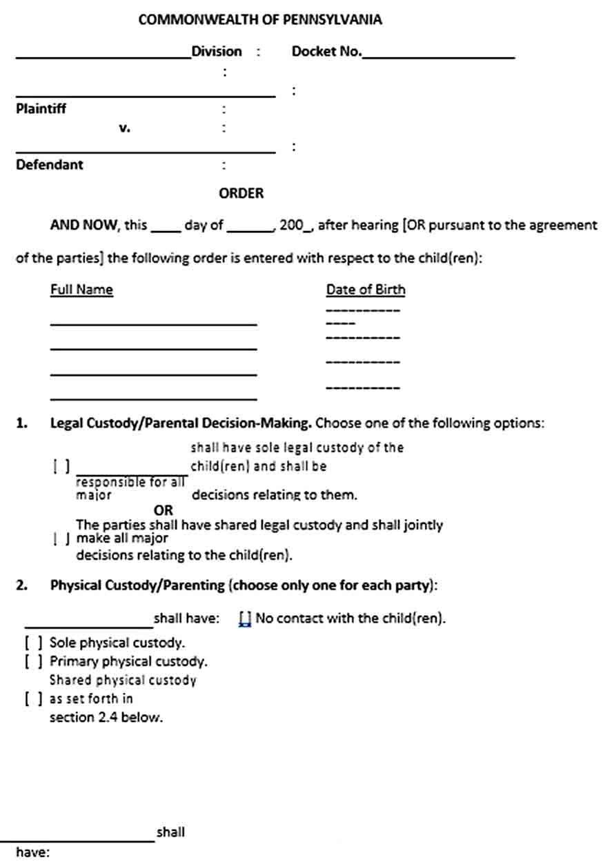 Custody Agreement Template Custody Agreement Custody Joint Custody Child custody agreement template free