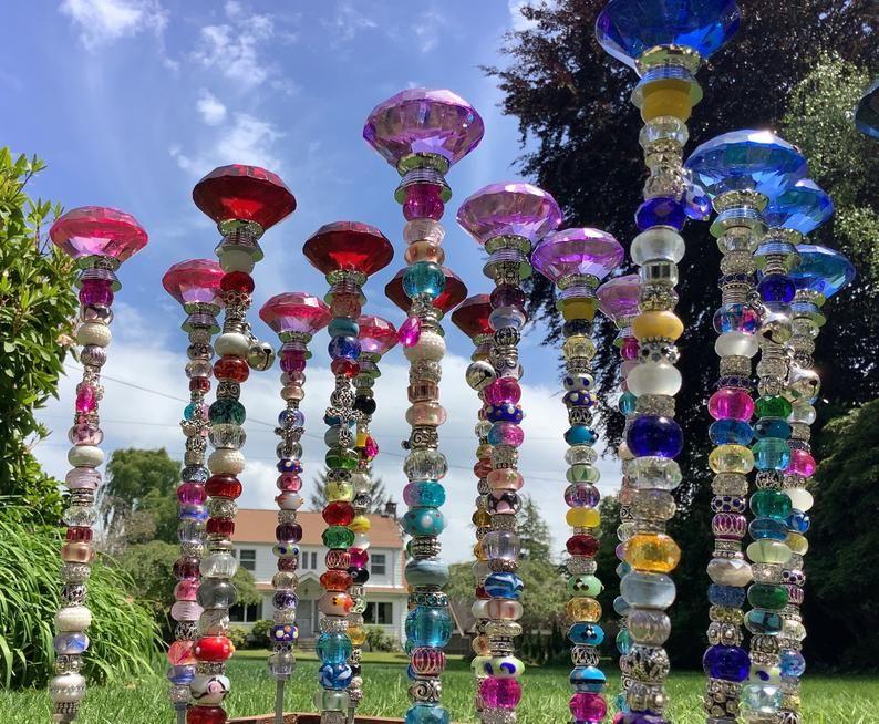 14 beaded fairy garden stakes in 2020 garden stakes