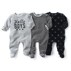 85107e9e11e1a Pyjama à pieds en velours (lot de 3)   Baby boy fashion   Pyjama ...