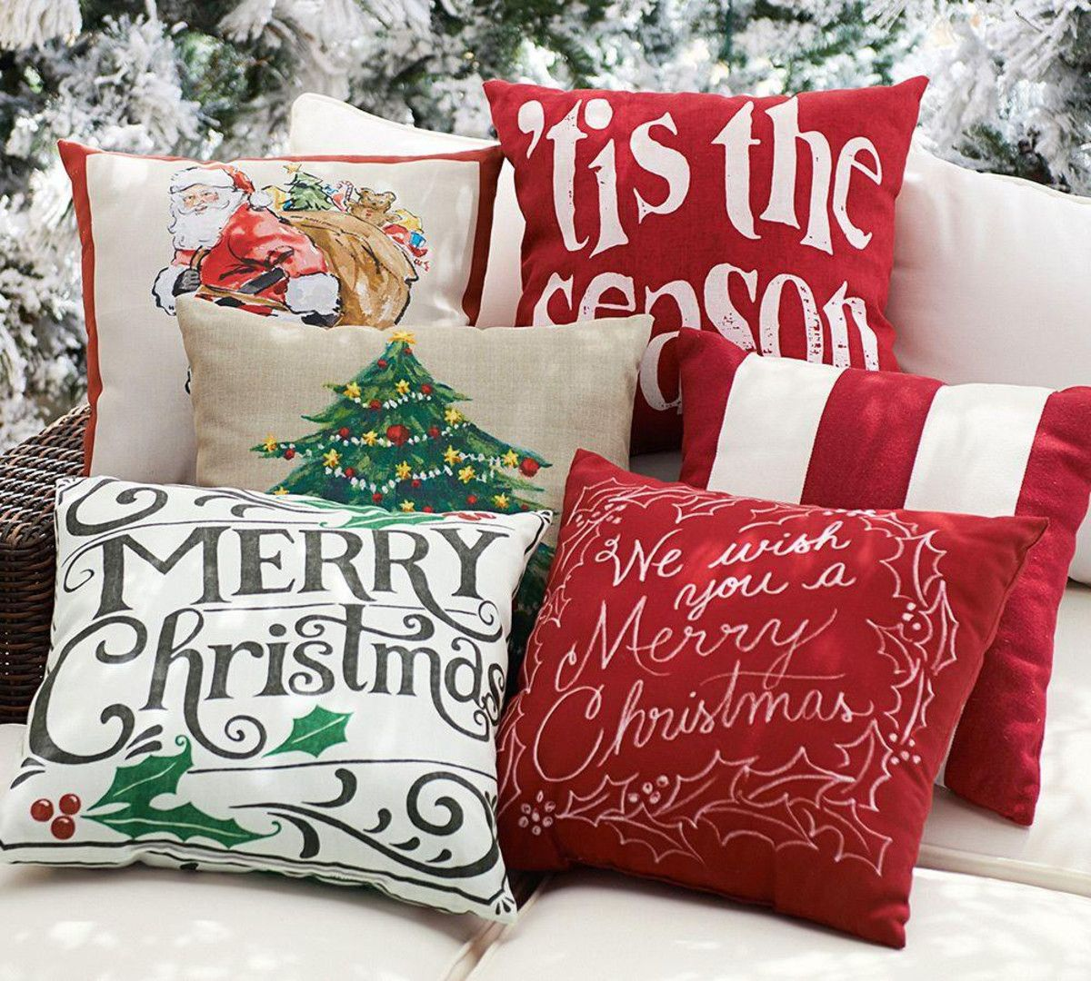 Merry Christmas Sentiment Outdoor Cushion Cover | Christmas ...