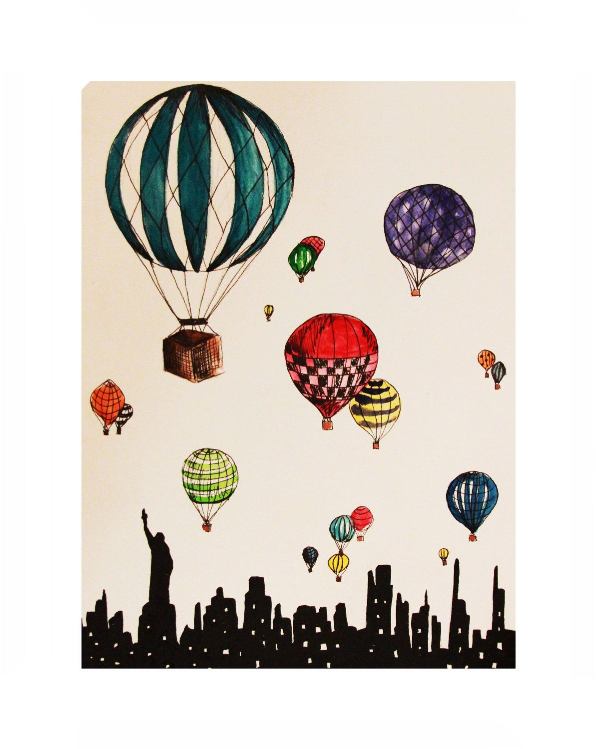 Hot Air Balloons Over New York City Illustration