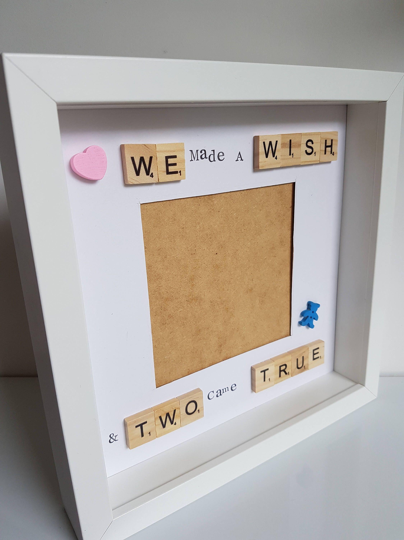 Twin scrabble frame, twin keepsake frame, new baby frame, baby gift ...