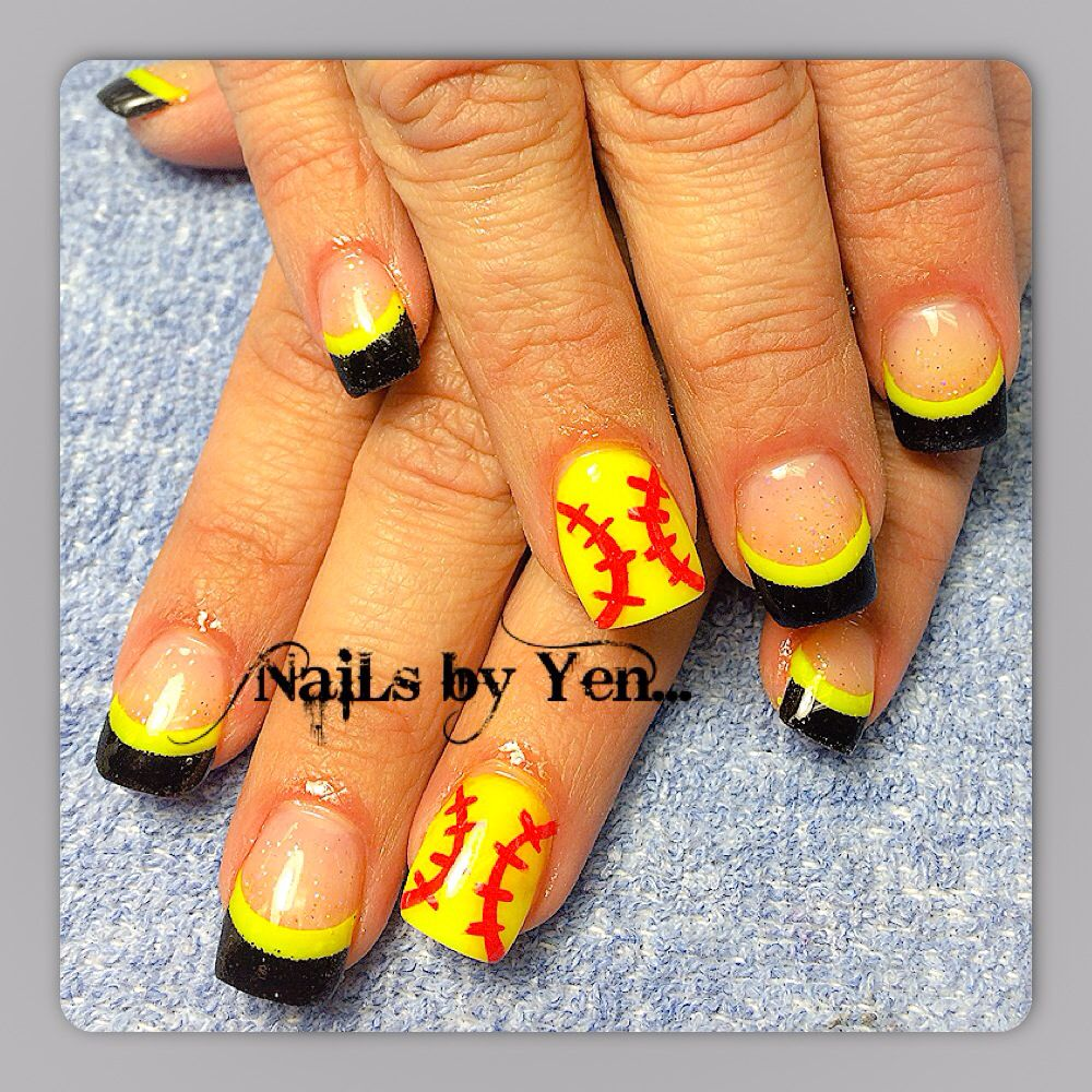 French neon yellow and black acrylic nails with baseball accent nail ...