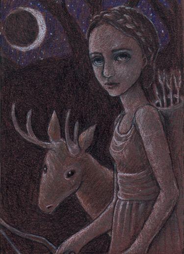 Artemis. Colored pencil on matboard. For Tempest Studios