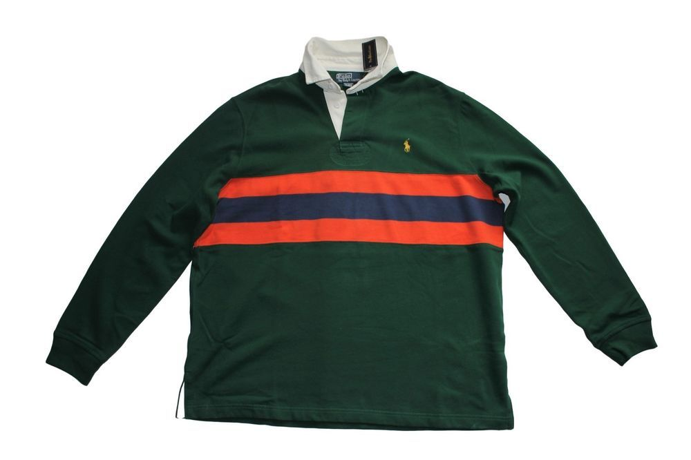 Polo Ralph Lauren Classic-Fit Chest Stripe Fleece Rugby Size Large in Green  #PoloRalphLauren
