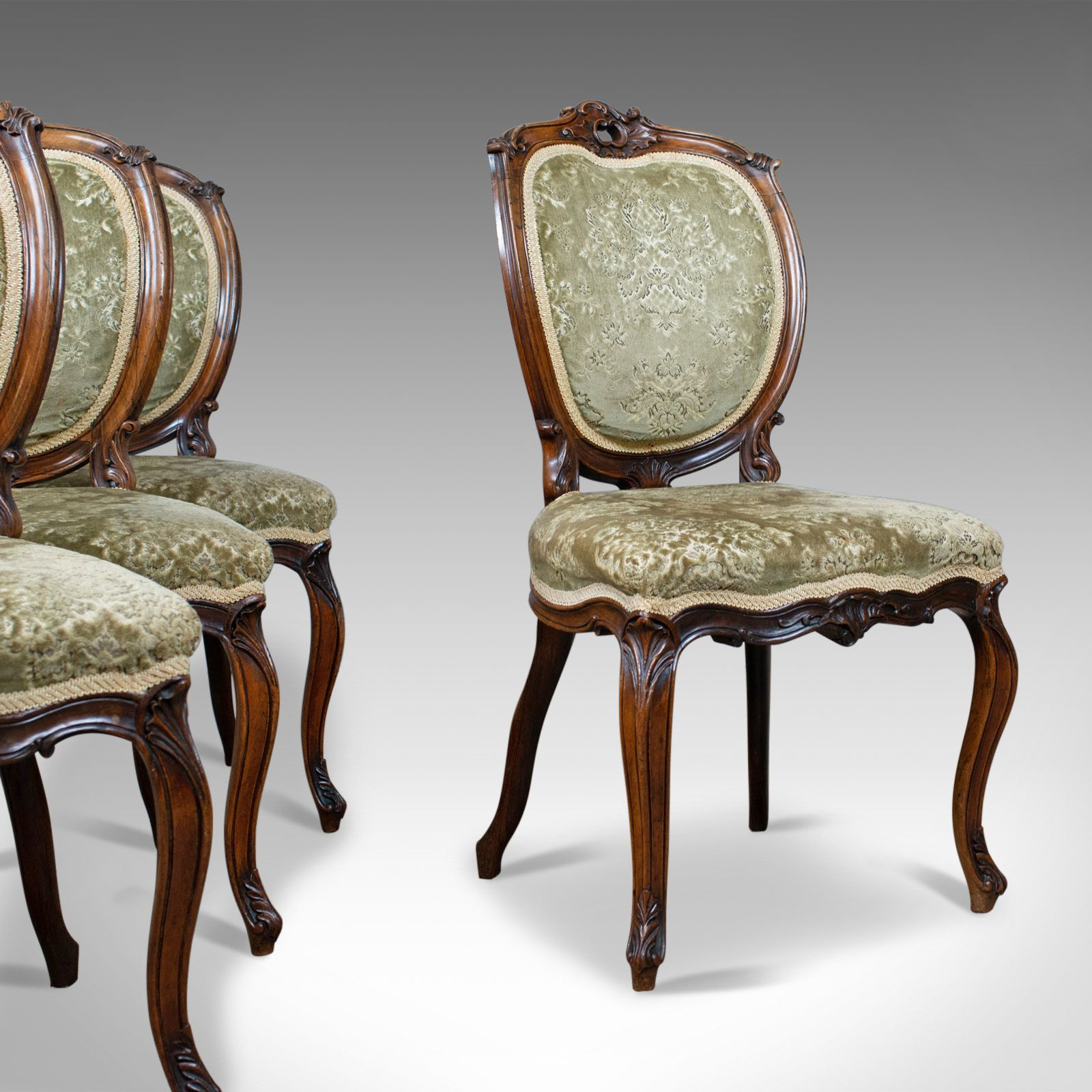 Antique Set Of Four Dining Chairs, Victorian, Rosewood, Howard