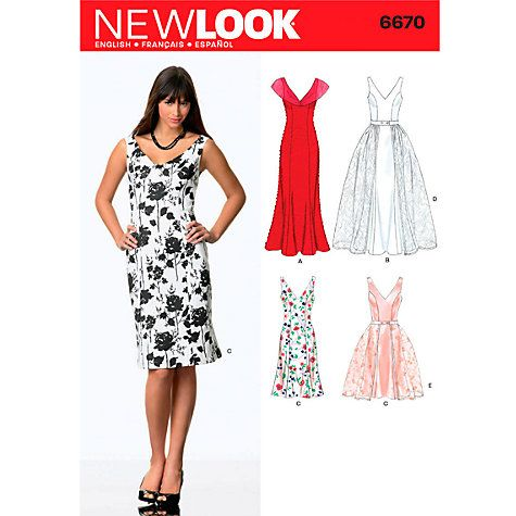 buy new look women's dresses sewing patterns, 6670 online at