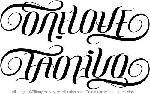 One Love Family Ambigram V 1 Ambigram Tattoo Ambigram