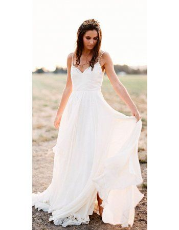 Simple Spaghetti Straps Long A Line Ivory Chiffon Wedding Dress ...