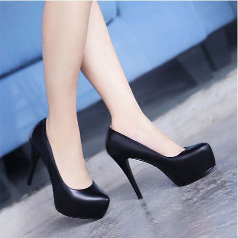 Genuine Leather women's nude color platform 11 CM high heels shoes size 33 to 39