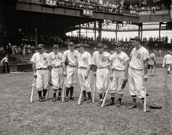 Baseball Photo, All-Stars Teams Gehrig, Cronin, Dickey, DiMaggio, Gehringer, Foxx, Greenberg, Griffith Stadium, July, 1937
