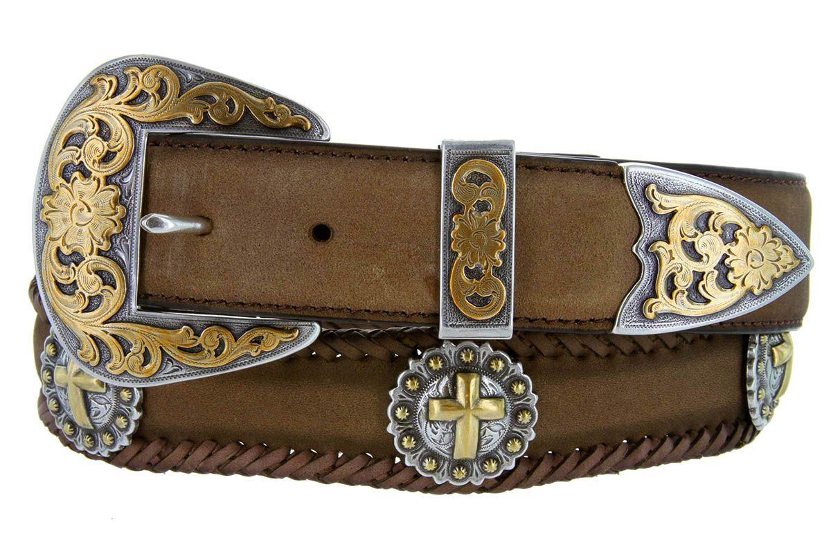 Black Western Cross Concho Belt | Western leather, Cowboy belt