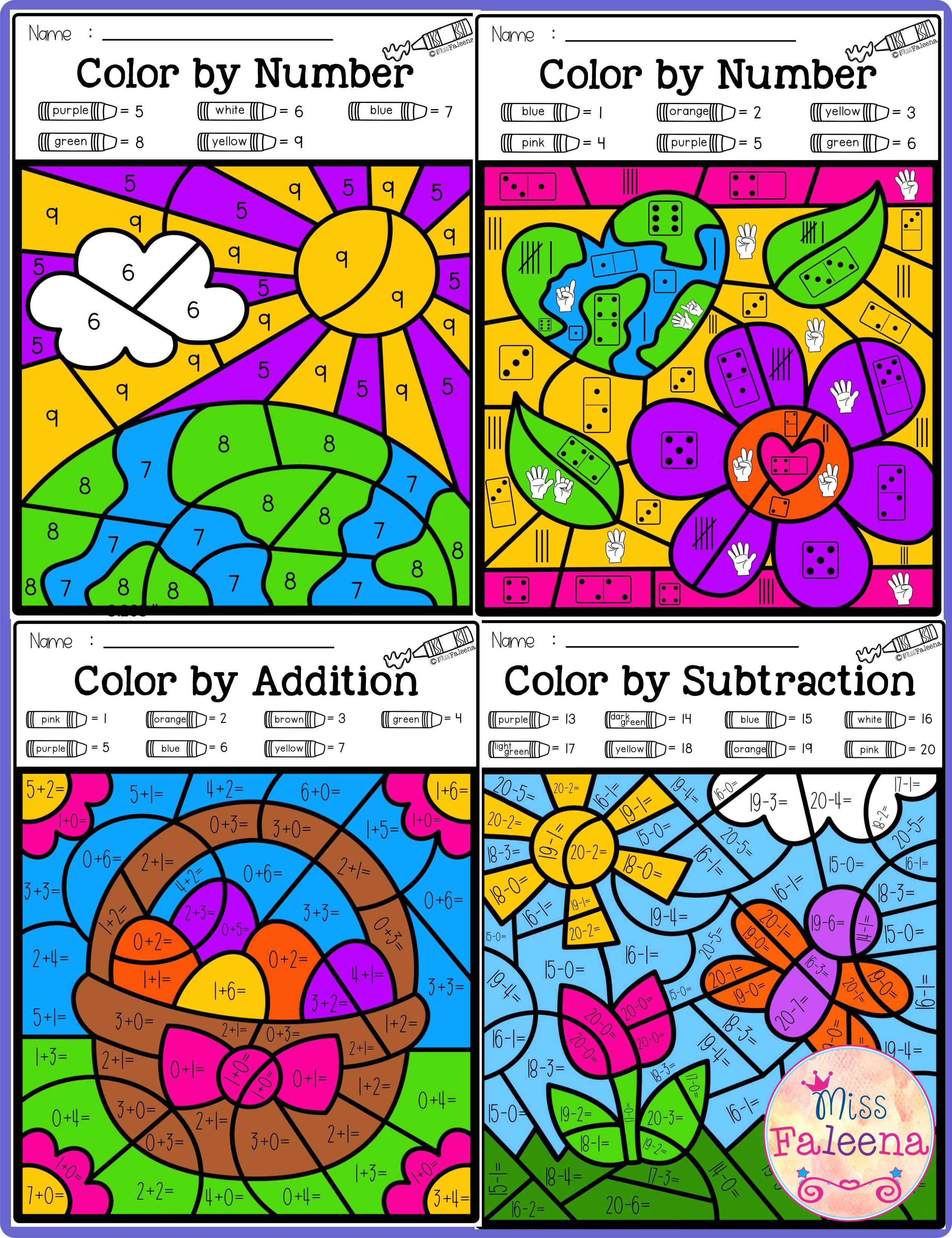 Spring Color By Code Math Color By Number Addition