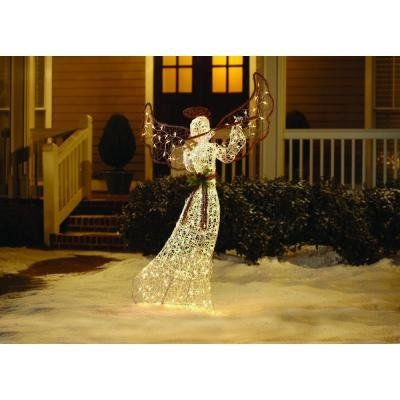 5 Ft Tall Lighted Grapevine Christmas Nativity Guardian Angel Clear Lights Outdoor