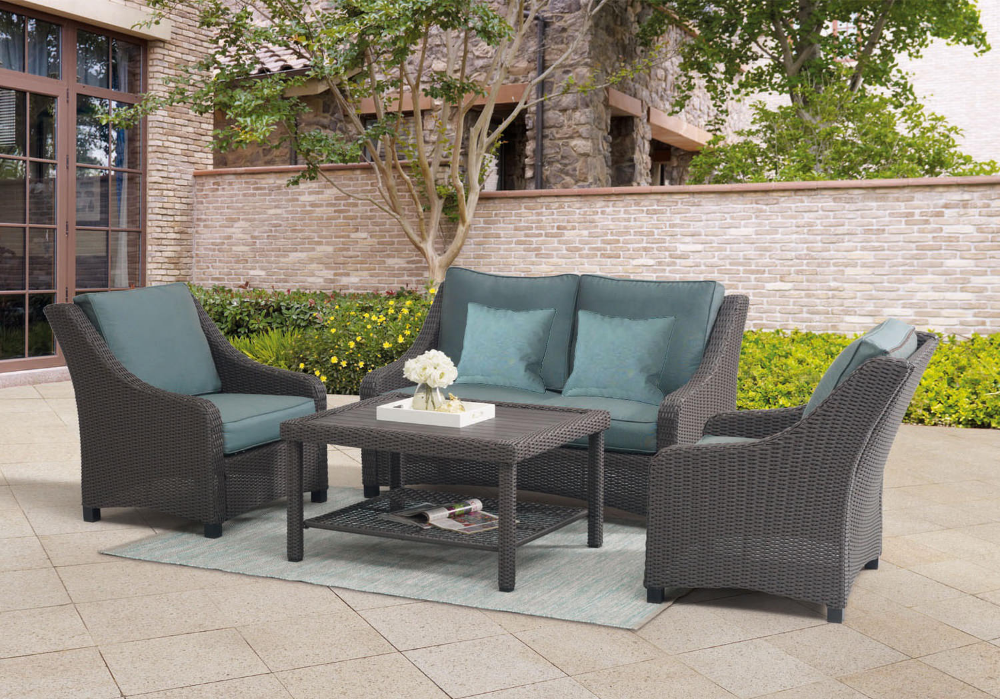Lake House 4 Piece Wicker Patio Set By