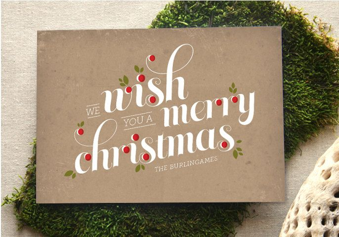 holiday card - berries and type. $2.00, via Etsy.