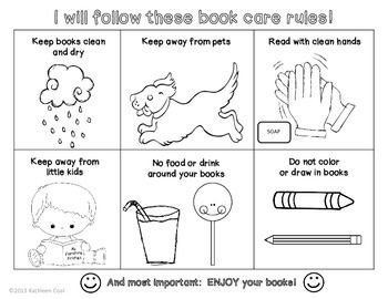 Book Care Rules Coloring Page And Bookmarks Free School