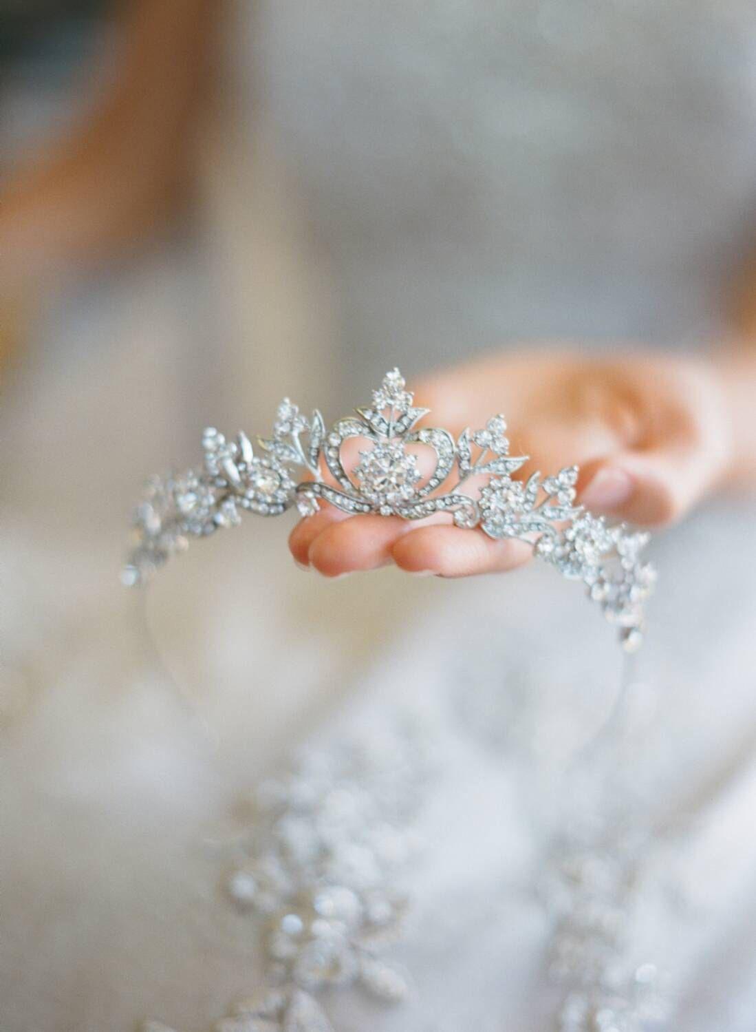 Crowns full circle round tiaras rhinestones crystal wedding bridal - Bridal Tiara Crystal Heart Tiara Diana Swarovski Bridal Tiara Crystal Wedding Crown