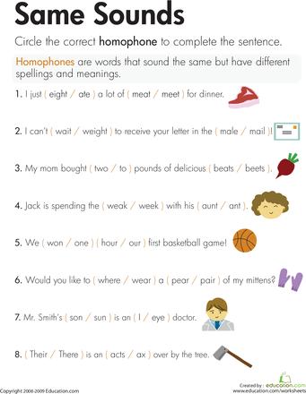 homophones same sounds second grade help pinterest worksheets language and school. Black Bedroom Furniture Sets. Home Design Ideas