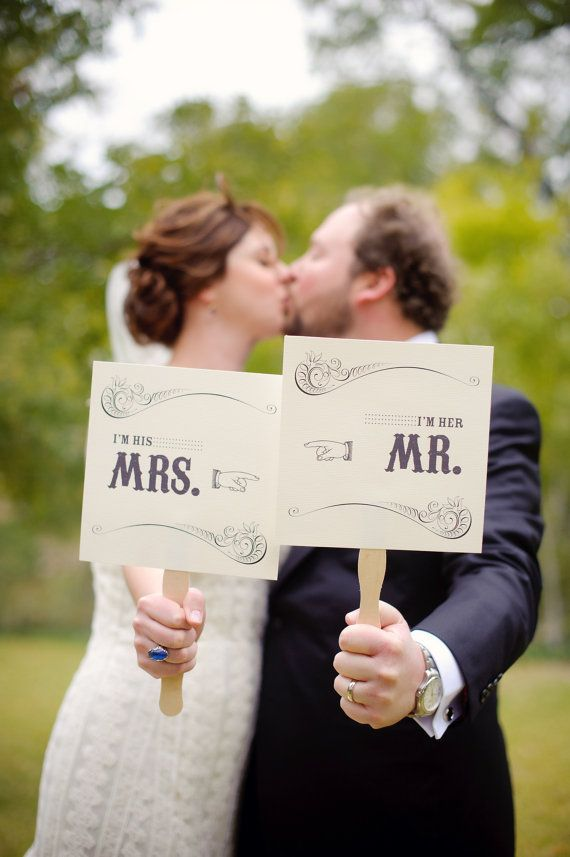 Mr and Mrs Wedding Prop Signs for
