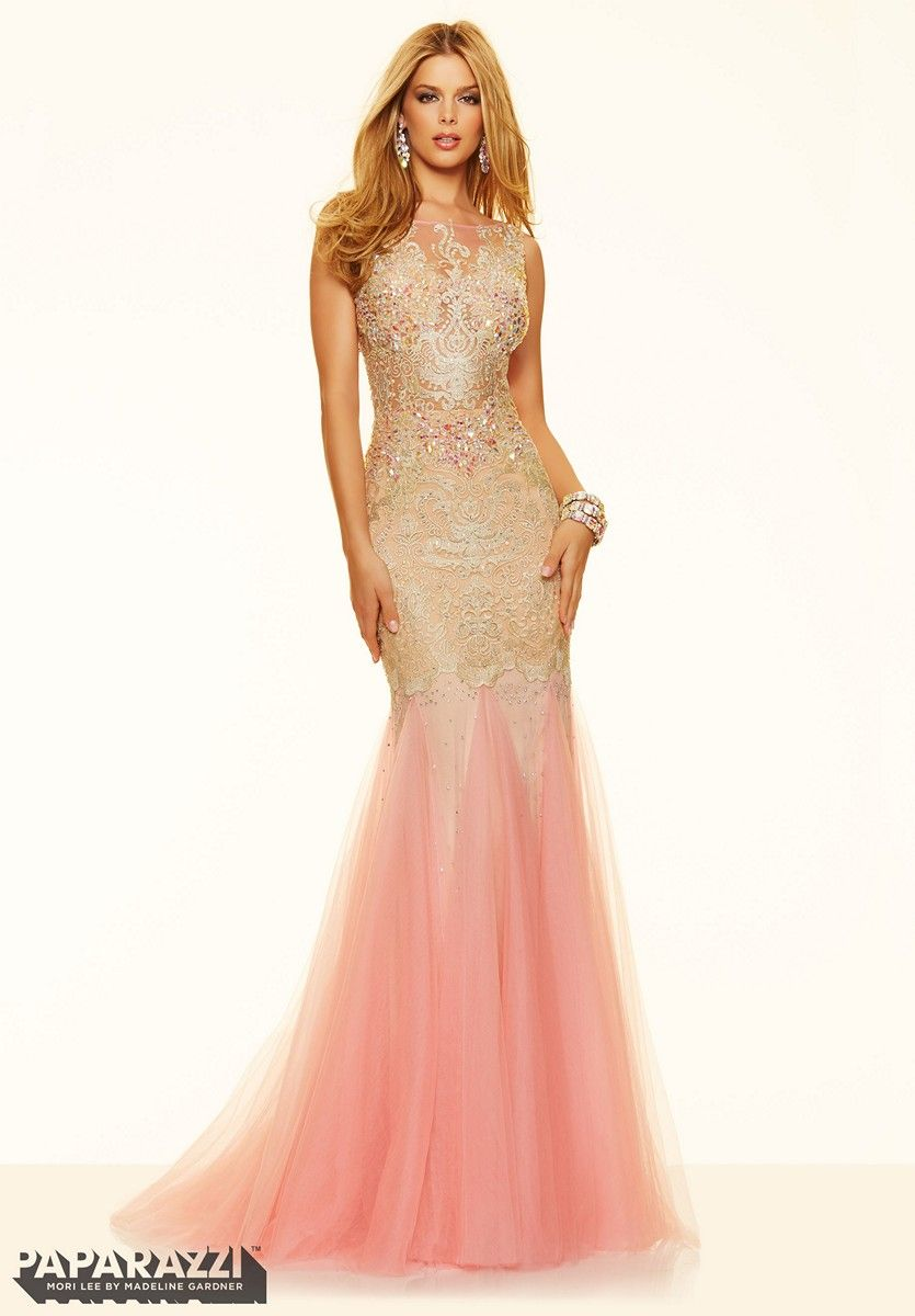 The Mori Lee Paparazzi 98017 prom dress presents a stunning mermaid ...