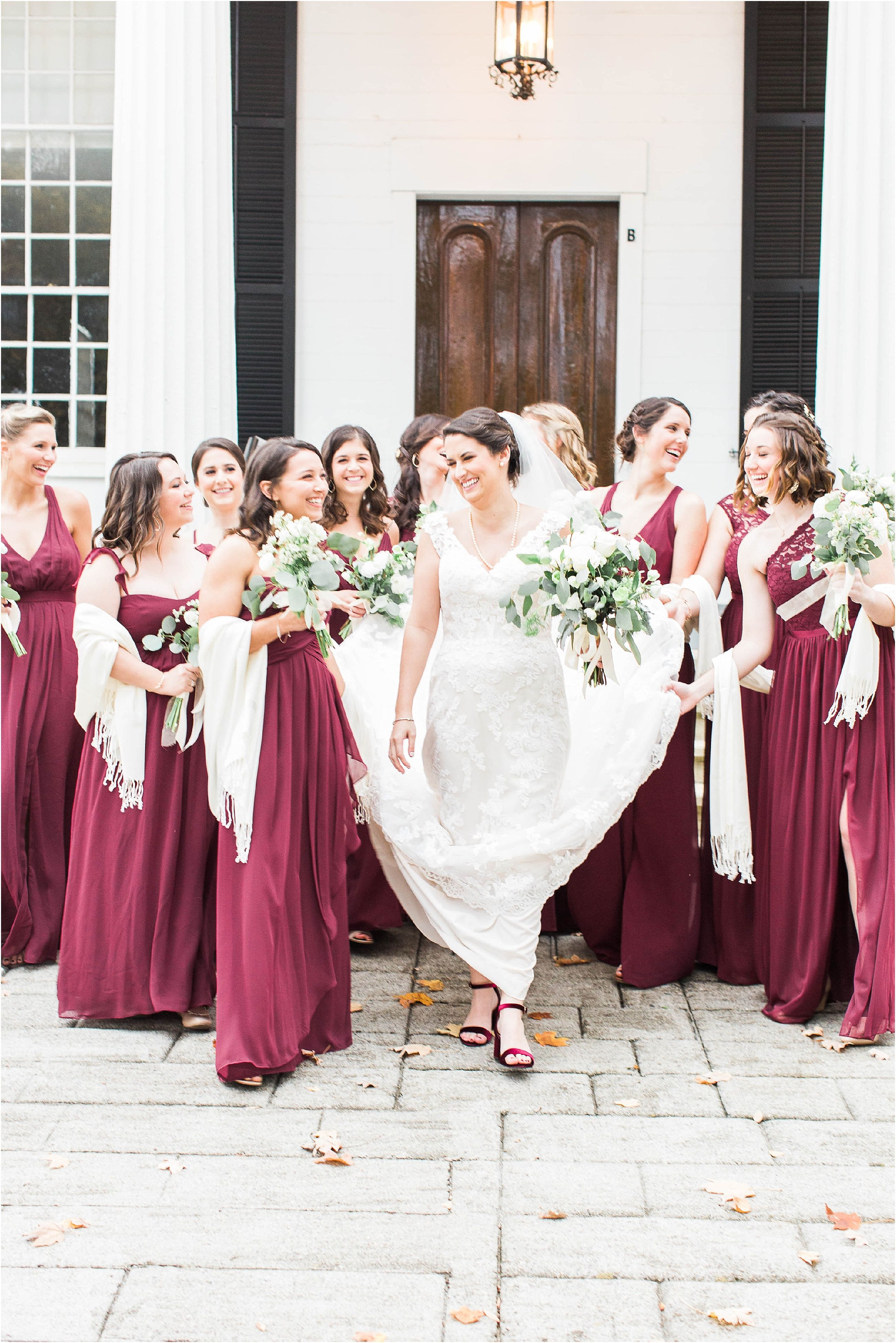 Roswell garden wedding filled with sentimental heirlooms in bride surrounded by bridesmaids in long burgundy bridesmaids dresses at this roswell garden wedding ombrellifo Images