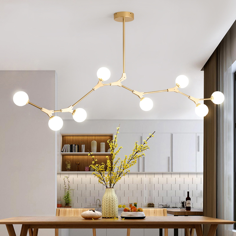 30 Brilliant Kitchen Island Ideas That Make A Statement: Contemporary Organic Branching 8 Light Chandelier For