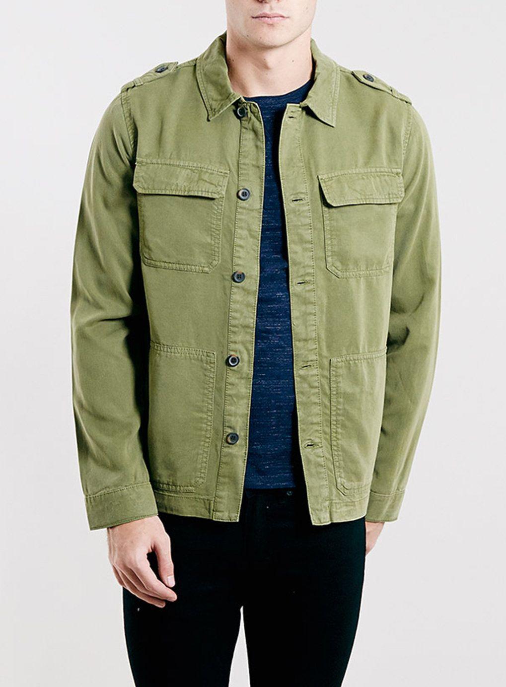 Mens khaki jacket casual - Khaki Military Shacket Mens Coats And Jacketsdenim