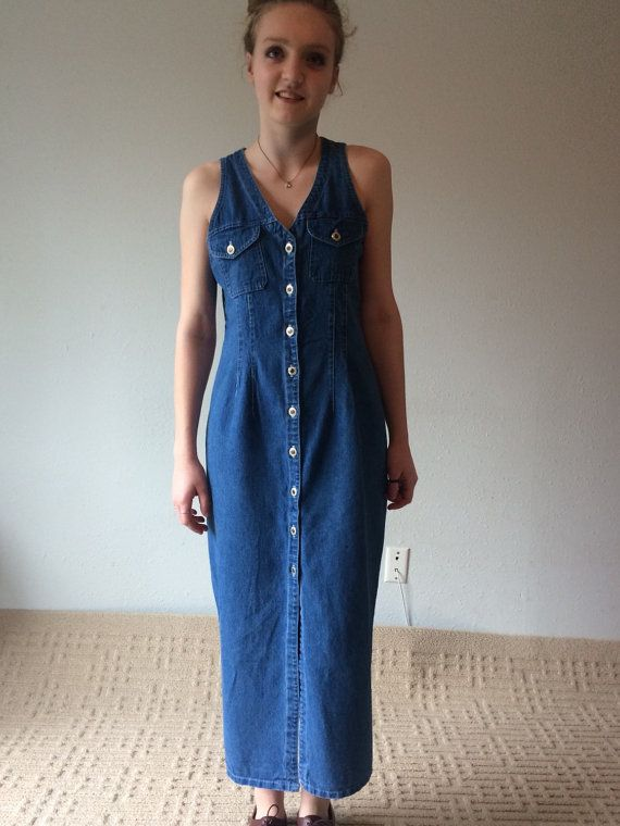 f4e259a447 90s Denim Dress Button Down Dress Jean Dress by MileZeroVintage