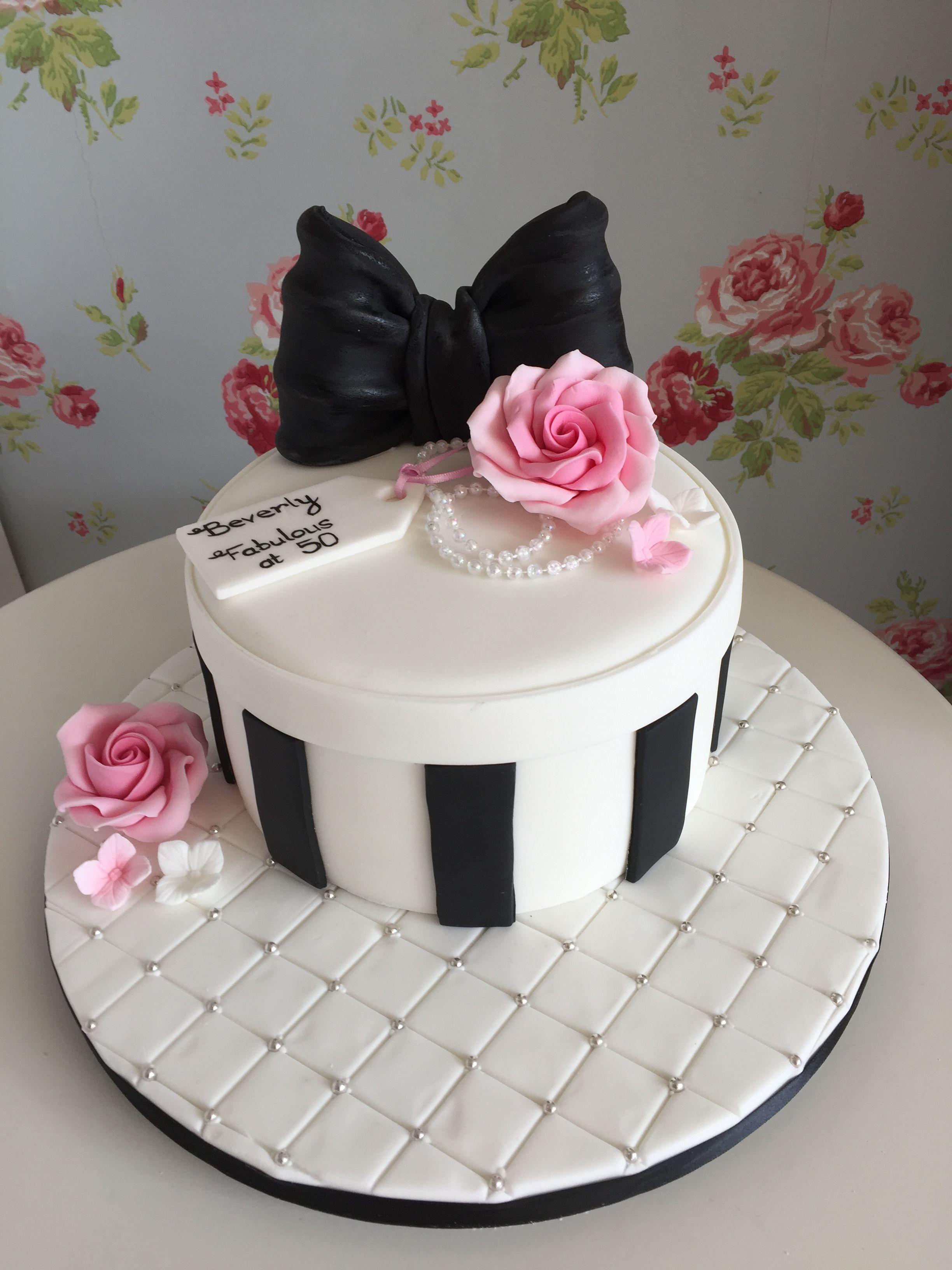 Black White And Pink Birthday Cake Designer Cakes Pinterest