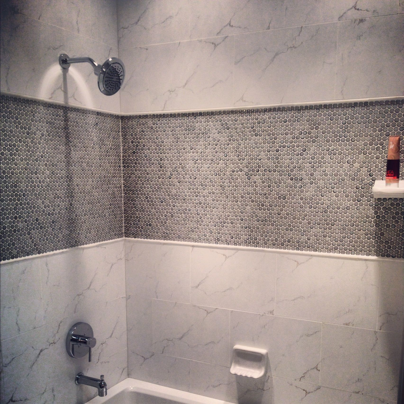 Mosaic Tile Bathroom Shower: Porcelain Penny Round Mosaic Tile In The Shower