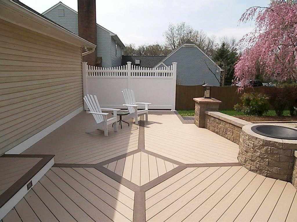 azek brownstone vinyl deck flooring and kona border longevity white 6 39 privacy panel and fire. Black Bedroom Furniture Sets. Home Design Ideas