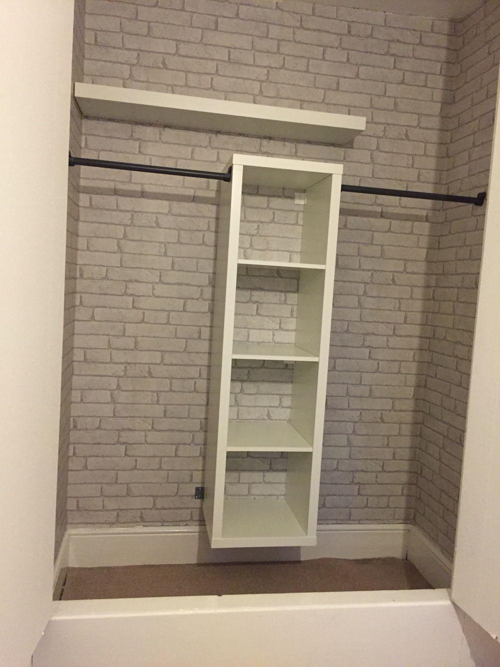 Ikea Kallax Hack Built In Wardrobe And Brick Wallpaper