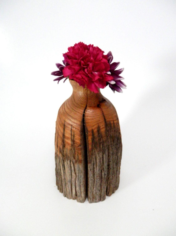 Rustic wooden flower vase turned in american chestnut home rustic wooden flower vase turned in american chestnut home decoration by gleasonswoodworking reviewsmspy