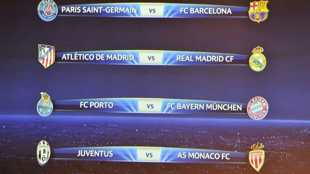 Uefa Champions League Quarter Final Draw Results