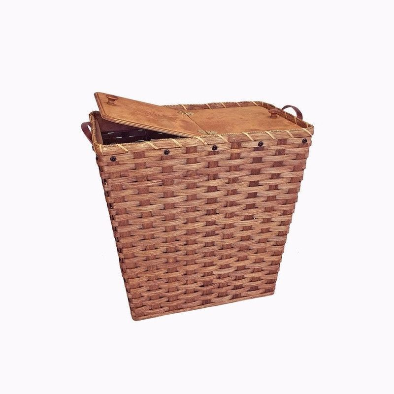 Amish Made Medium Wicker Laundry Hamper Basket With Hinged Lid