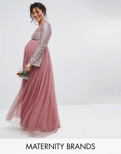Maya Maternity Long Sleeve V Neck Maxi Dress With Tonal Delicate ...