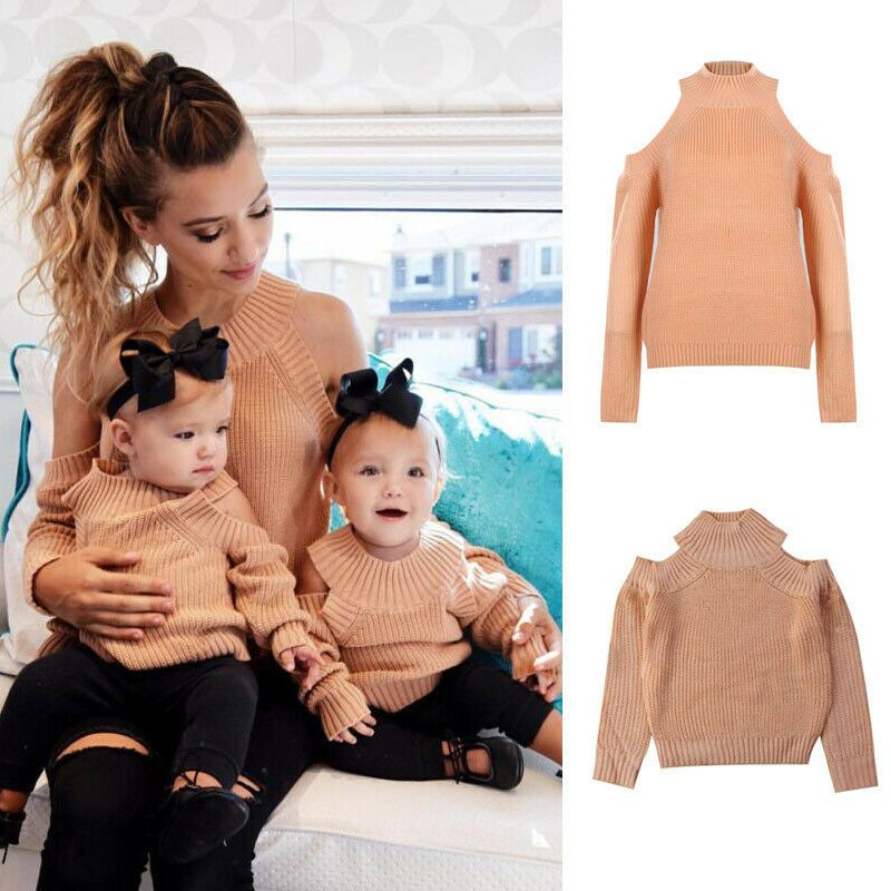 Family Matching Outfits Mom Daughter Knited Sweater Autumn Long Sleeve Jumper