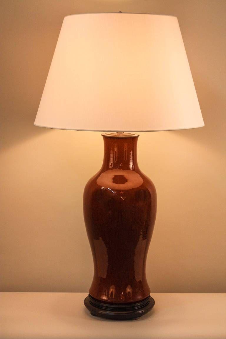 19th Century Chinese Sang de Boeuf Porcelain Lamp