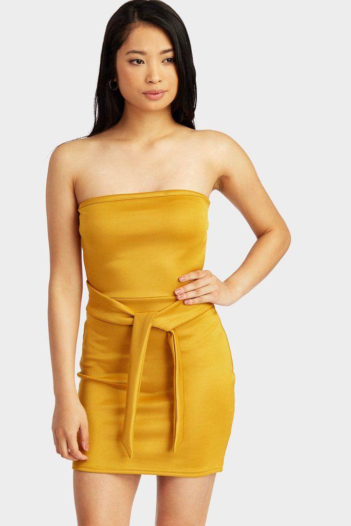 c4bf46145c89 Mustard Bandeau Tie Mini Dress Bandeau Dress, Strapless Dress, Bodycon Dress,  Mini Dresses