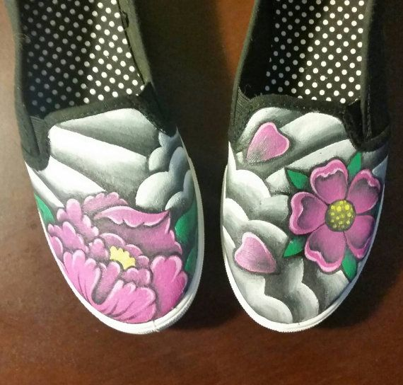 Custom Hand painted shoes Japanese flower tattoo design by VenomAndVixen
