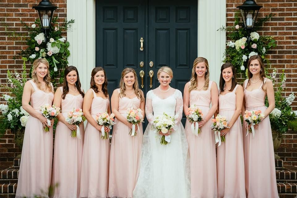 Amsale Bridesmaids In Blush Gowns Photo Chad Riley Photography Via Bella Bridesmaids Indiana Amsale Bridesmaid Pink Wedding Colors Lace Beach Wedding Dress