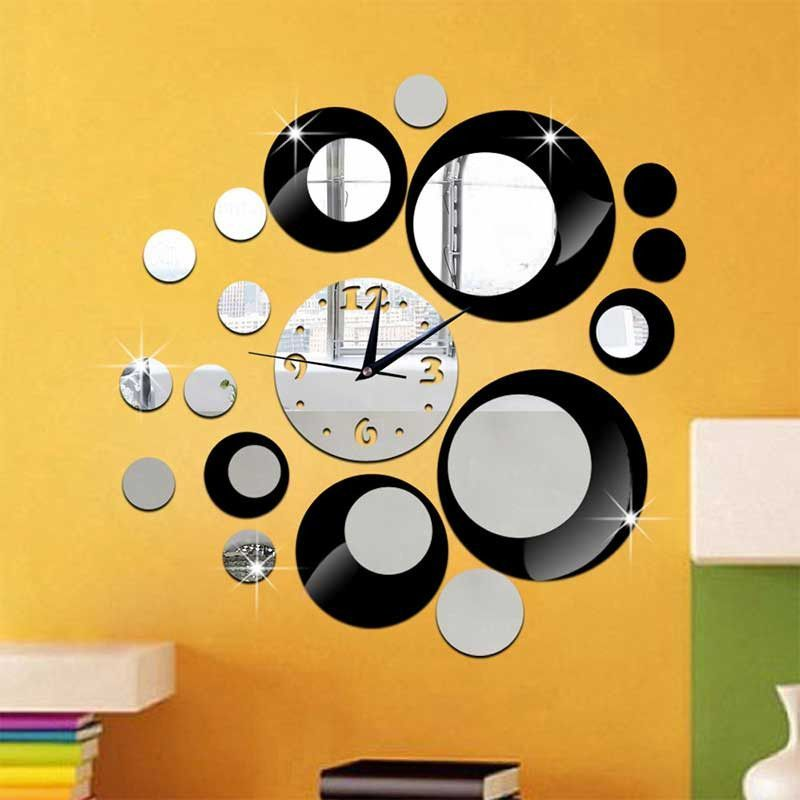 DIY 3D Round Circle Craft Mirror Wall Clock For Living Room Home ...