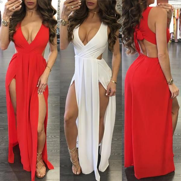 Maxi dress with plunge neck and high split