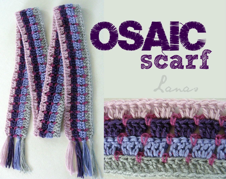 Lanas Hilos: MOSAIC SCARF (pattern)   Crochet ~ Hats & Scarves ...